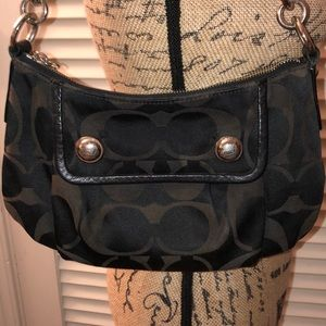 Coach Black and dark brown canvas shoulder bag
